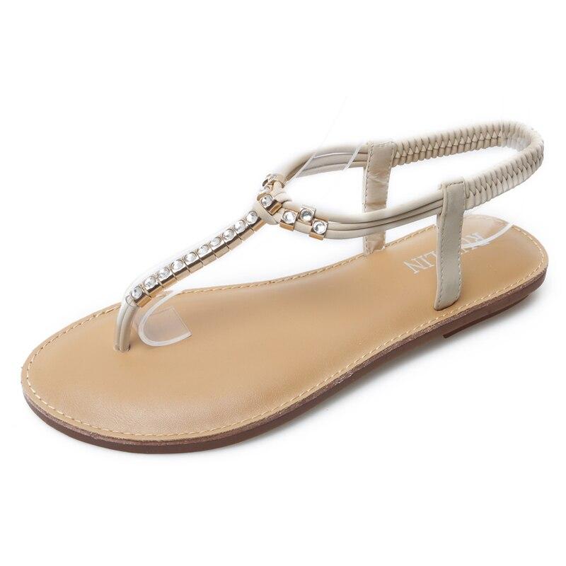 HEYIYI Gladiator Sandals Women Diamonds Rhinestone Flats Shose Summer Fashion Beach Transparent Shoes Peep Toe Rome Plus Size