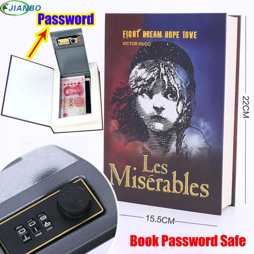 Home Storage Safe Box Dictionary Digital Password Book Bank Money Cash Jewellery Hidden Secret Security Locker With Metal Lock