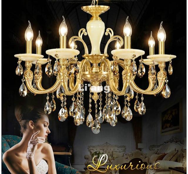 European brass antique crystal chandelier lingting luxurious jade european brass antique crystal chandelier lingting luxurious jade brass crystal lamp lustre suspension lighting 100 mozeypictures Gallery