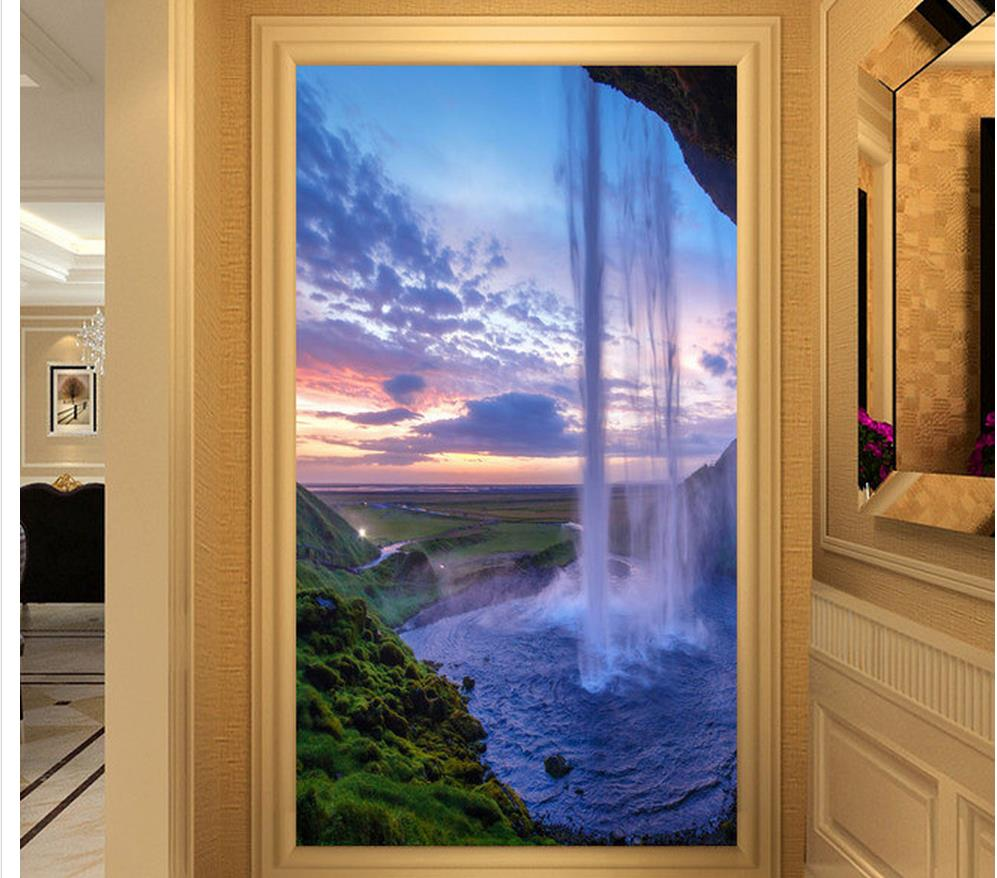 Wallpaper For Walls Water Curtain Cave Sky View Entrance Hall Background  Wall Living 3d Wallpaper Home Decoration  In Wallpapers From Home  Improvement On ...
