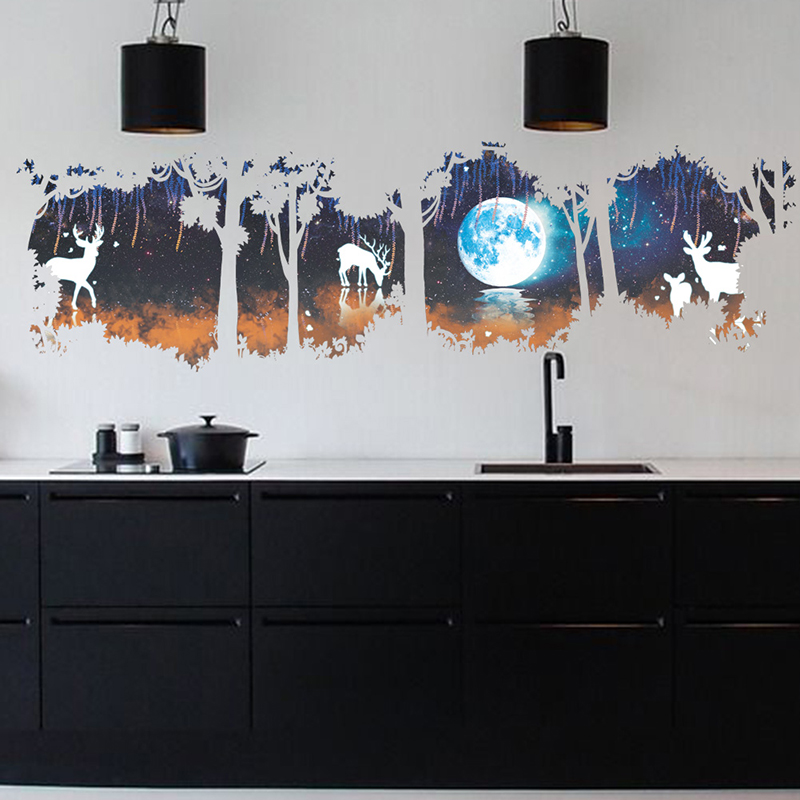 Free shipping Forest Deer Elk Moon Lake pattern Wall Stickers Home Decoration Living Room Bedroom Kitchen Room Mural Art Decals in Wall Stickers from Home Garden