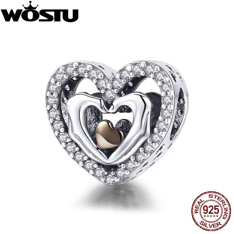 Wostu romântico 925 prata esterlina dar-lhe o meu coração charme grânulos para original diy pulseira jóias fazendo amante presente cqc934