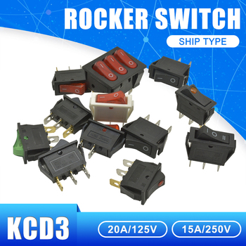KCD3 AC Power Switch 16A/20A 125V/250V 2Pin 3 Pin 9Pin Copper Rocker Boat Switch ON-OFF ON-OFF-ON Silicone Waterproof Switch cap image