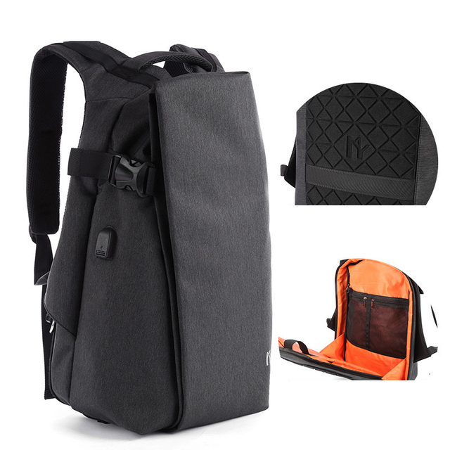 Mens Boys Backpack Shoulder Bag USB Charging Laptop Bag Notebook Fashion Outdoor Travel Oxford Sport Waterproof 14 inch