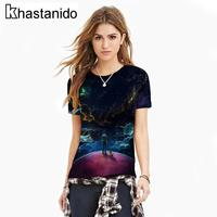 الأزياء الفضاء يلة قطعة 3d طباعة قميص المرأة س الرقبة قصيرة كم تيز تجريب الصيف القمم الشرير زائد الحجم ملابس زوجين روبا