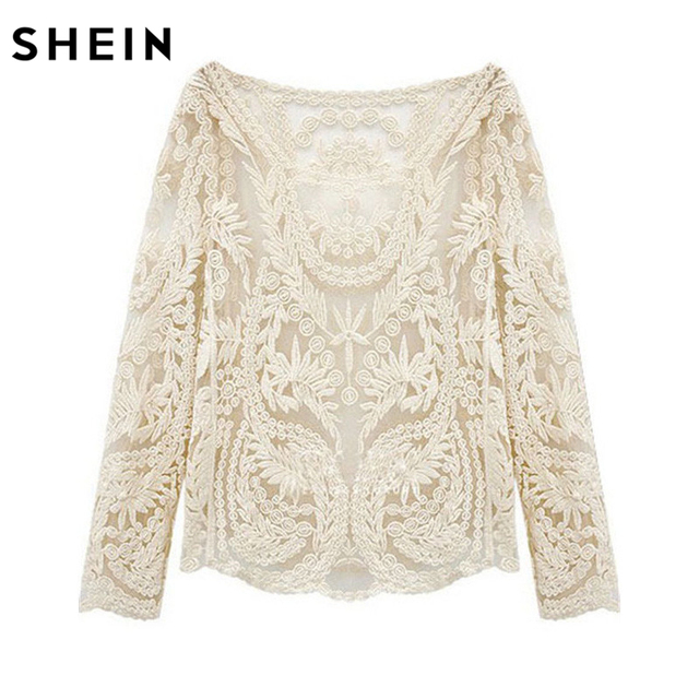 SHEIN Summer Style Beige Long Sleeve Hollow Out Crochet Lace Blouse Female Boat Neck Curved Hem Sexy Sheer Blouse