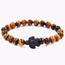 Yellow Tiger'eye Stone Bead Bracelets Turtle Black Charm Wristband Yoga Fashion Jewelry For Men Women Gift