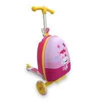 Детская тележка чемодан складной скутер чемодан мальчик и девочка студент мультфильм скейтборд для детей