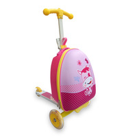 Children trolley suitcase folding scooter luggage boy and girl student cartoon skateboard luggage for kids
