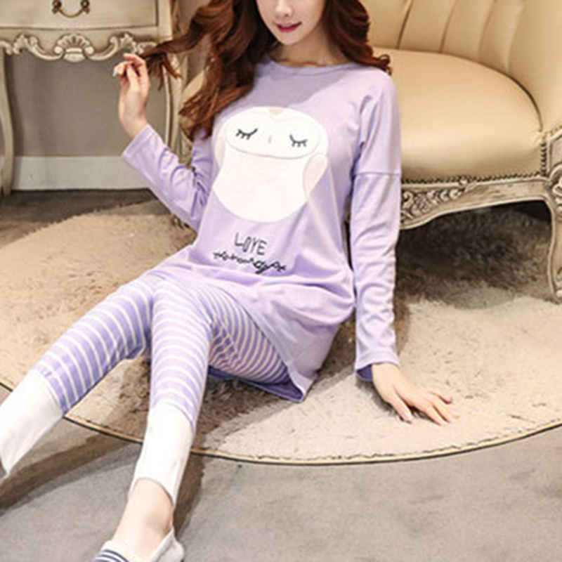 Women   Pajamas     Sets   Long Sleeve Suit Animal Cartoon Large Size Girls Sleepwear Women   Pajamas   Suit Home Clothes   Pajama   Female
