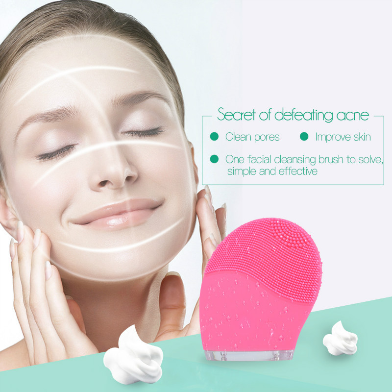 Mini Electric Facial Massage Brush Cleaner Silicone Waterproof Ultrasonic Instrument Facial Spa Massager Beauty Tool Device 58