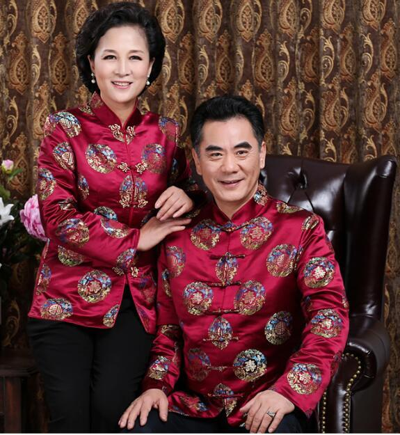 Autumn Elderly clothes Couple costume Chinese traditional men clothing Life clothes