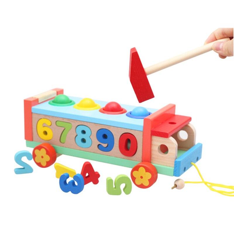 Bambini Puzzle Educational Earlyhand Trolley Rimorchio Giocattolo Di Legno Coppia Di Corrispondenza Digitale Riconoscere Battente Giocattoli Per I Bambini