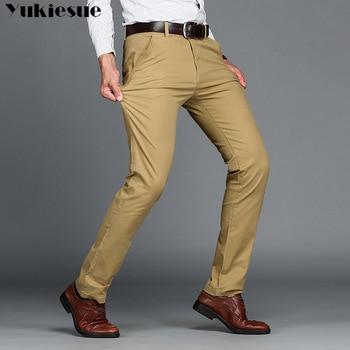 6bc57f983 Los hombres clásico Casual pantalones de color caqui hombres de negocios  Slim Fit elástica Jogger pantalones largos pantalones de hombre de algodón  de la ...