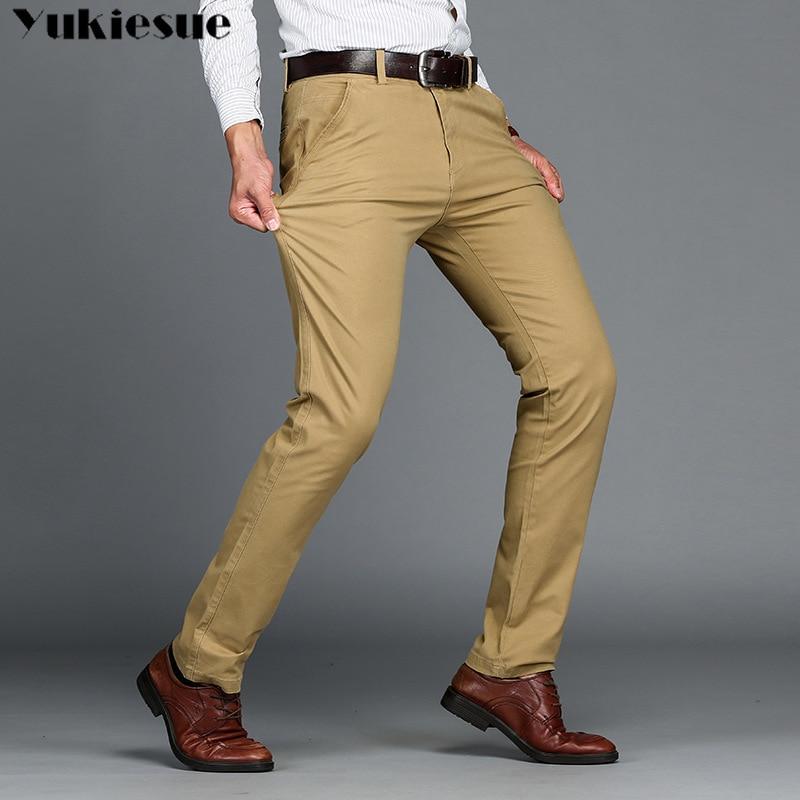 Men's Classic Casual Khaki Pants Men Business Dress Slim Fit Elastic Jogger Long Trousers Male Clothing Cotton Work Pant Black