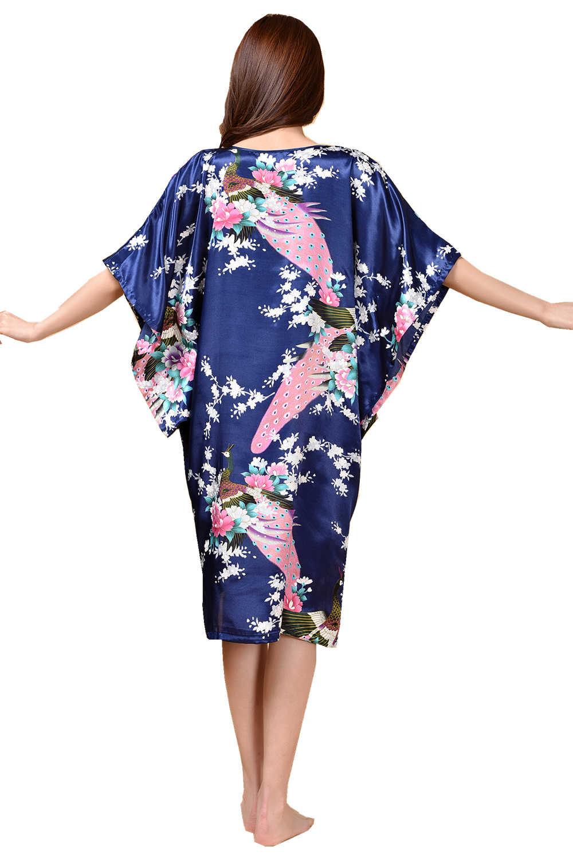 Темно-синий женский халат из искусственного шелка Новый модный стиль летний банный халат ночная рубашка одежда для сна Mujer Pijama один размер цветок Zh06E