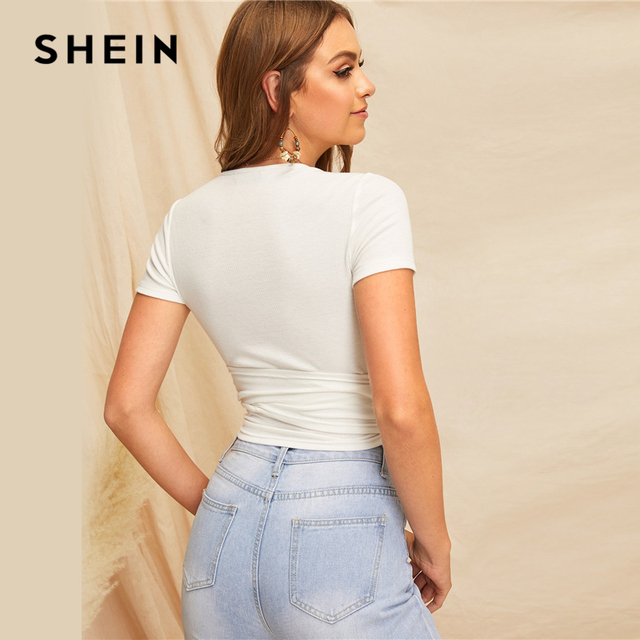 SHEIN Sexy White Deep V Neck Crop Wrap Belted Slim Fitted Top Solid T Shirt Women Summer Elegant 2019 Short Sleeve Tshirt Tops 2