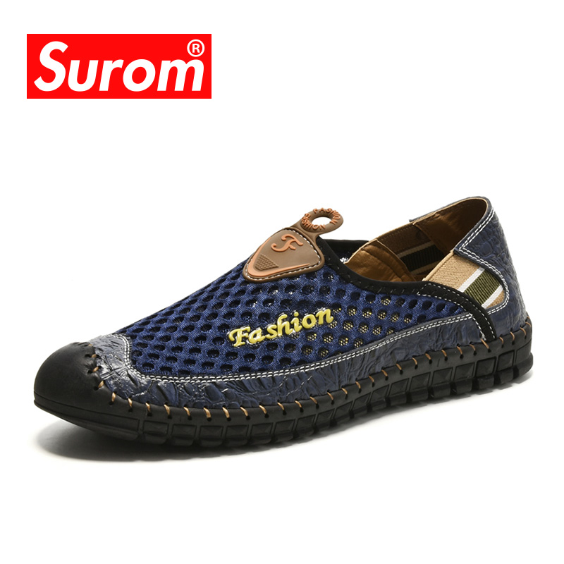 SUROM Sommer Ny Casual Sko Menn Sneakers Breathable Leather Mesh Mote Kjøresko Komfortabel Soft Hand Made Men Loafers
