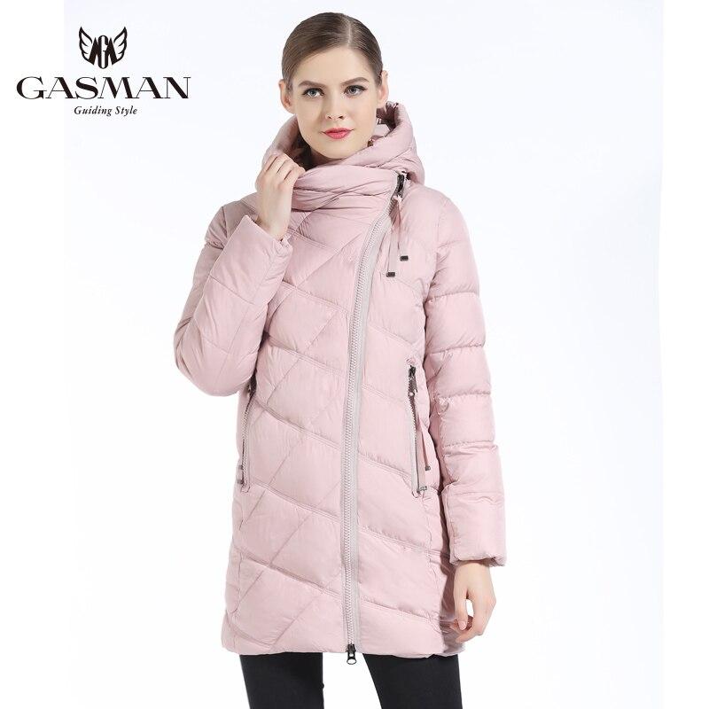 GASMAN Womens Jackets And Coats Winter 2018 Fashion Medium Length Hooded Thick Parka Down Jacket Casual