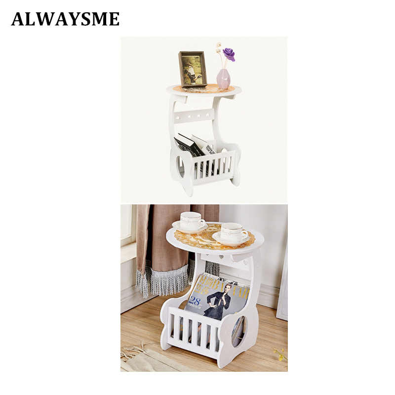 ALWAYSME Coffee Desk Coffee Table Tea Table Wood Plastic Coffee Table Desk Leisure Magazine Storage Rack Table Hollow Carved