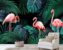 Beibehang Wallpaper mural hand drawn tropical rainforest plant flamingo background wall TV sofa walls 3d wallpaper