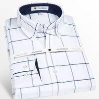 Men S Long Sleeve Oxford Medium Plaid Dress Shirt With Front Pocket High Quality 100 Cotton