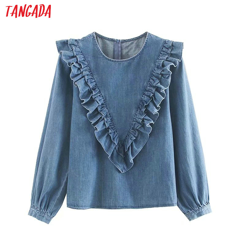 Tangada Women Vintage Denim Blouse 2019 Autumn O Neck Ruffled Long Sleeve Shirts Female Chic Tops 4M29