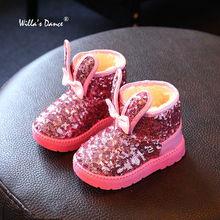 Sequined Baby Girls Boots for Children Shoes 2017 Rabbit Ear Plush Winter Boots Girls with Willa's Dance Kids Footwear