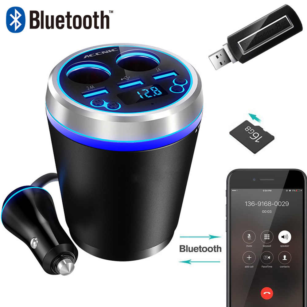 FM Transmitter Bluetooth Car Music Player with 3 USB Car Charger 2 Way Cigarette Lighter Socket Support SD Card USB Flash Driver