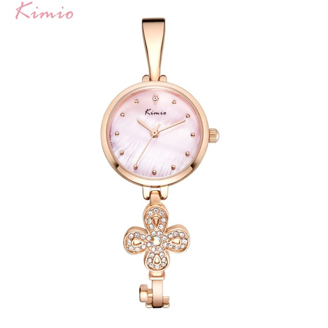 KIMIO Brand Fortunately Clover Women Watch Elegant Ladies Pearl Shell Key Bracel
