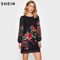 SHEIN Lantern Sleeve Floral Print Dress Black Fall 2017 Fashion Womens Dresses Long Sleeve Elegant Shift