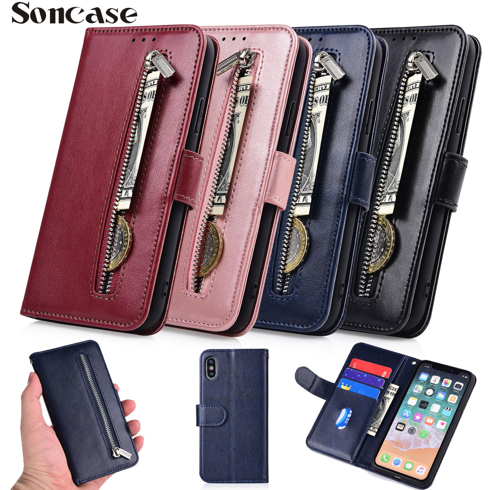Zipper Wallet Flip Leather Case for Xiaomi Redmi Note 4X 3 4 5 6 7 Pro F1 Redmi 4A 5A 6A 7A MI 5s 5X A1 A2 Lite Fundas Cover
