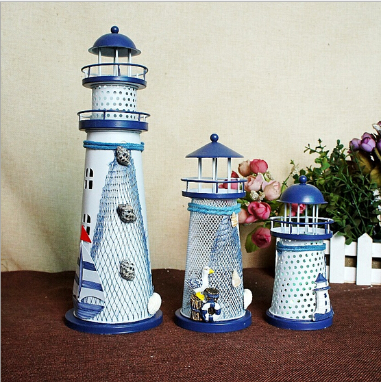 2018 ხმელთაშუა ზღვის სტილი Lighthouse Figurine Conch Fishing Nets Lamp Creative Lantern Tower for Home Decorating Gift