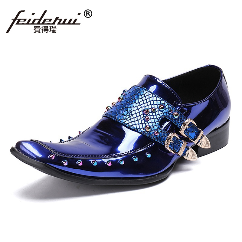 Plus Size Pointed Toe Spiked Man Wedding Party Loafers Italian Patent Leather Men's Monk Straps Studded Banquet Punk Shoes SL215