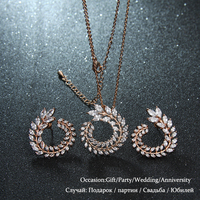 Elegant Top Quality Cubic Zircon Olive Branch Jewelry Set For Women Fashion Luxury White 18K Rose