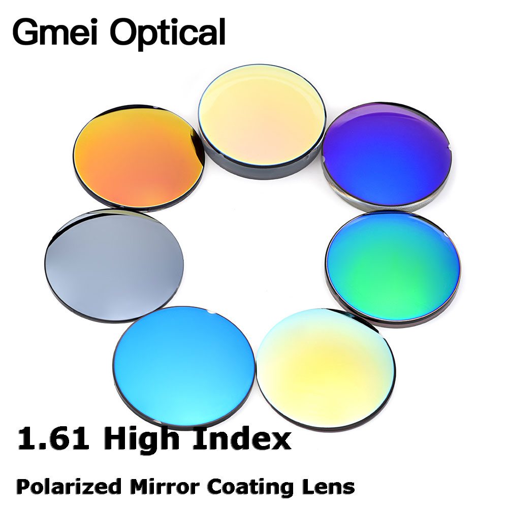 692b66aa7b Gmei Optical 1.61 High Index Polarized Mirror Coating Lenses Prescription  Polarized Sunglasses Optical Lenses 7 Colors Optional
