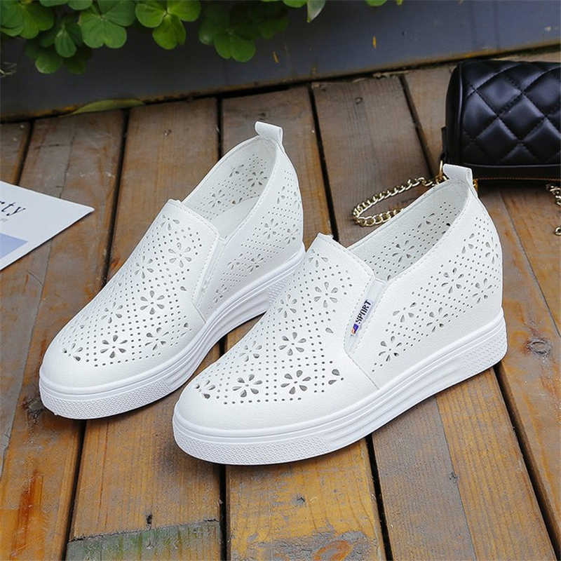 New White Shoes Women Flat Platform Slip-on Sneakers Breathable Hollow Design Stylish Solid Female Height Increasing Footwear