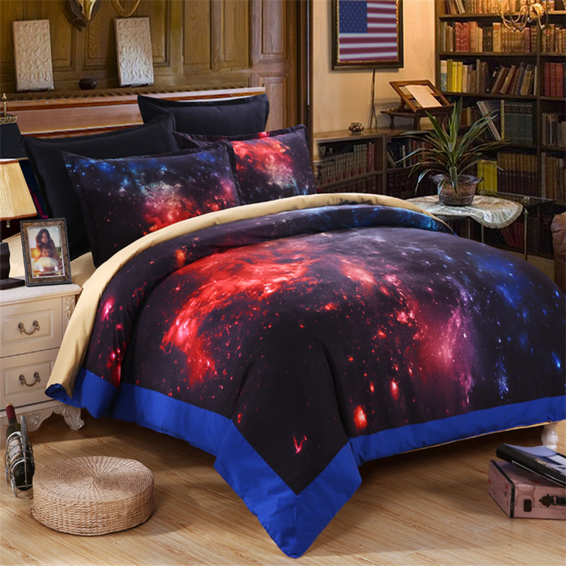 EsyDream King Size Hot Fire Hipster Galaxy Bedding Sets, Cotton Universe Outer Space Red Themed Galaxy Duvet Cover Queen Size