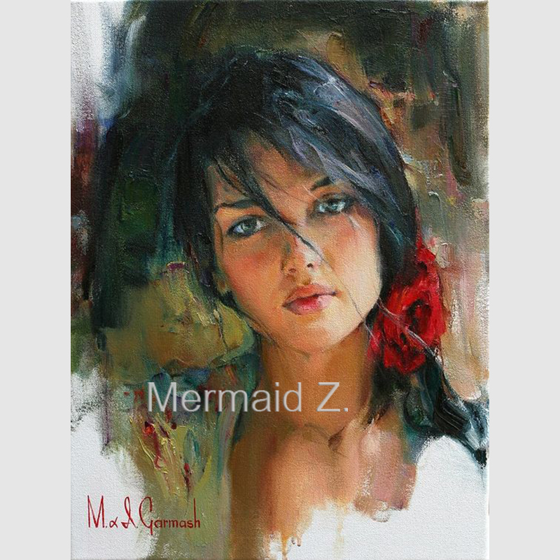 Hand-painted Oil Painting Michael and Inessa Garmash Lady Portrait on canvas Spanish Woman art modern impressionismHand-painted Oil Painting Michael and Inessa Garmash Lady Portrait on canvas Spanish Woman art modern impressionism