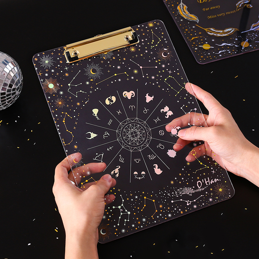 Starry Sky Series Writing Board Clip Kids Stationery A4 Paper Acrylic Pad Splint Transparent Feather Clipboard School Supplies