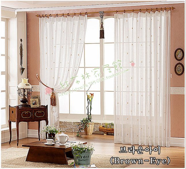"Curtain all-match white coffee flower window screening shalian 4 meters finished product string curtain - ""^_^"" Commodity *^_^* store"