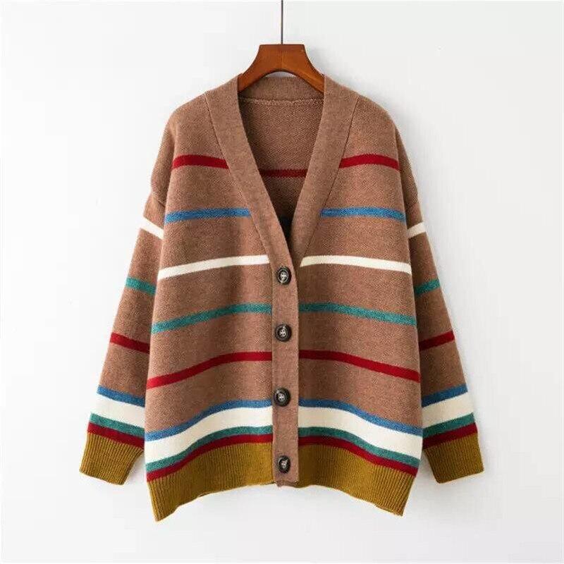 Arc-en-ciel imprimé court Cardigans 2019 femmes Cardigan chandail automne tricoté Cardigan femme veste chandail manteaux pull printemps
