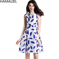 HAMALIEL Vestidos 2017 New Fashion Summer Women Dress European Style Sleeveless Print O Neck Tunic Elegant
