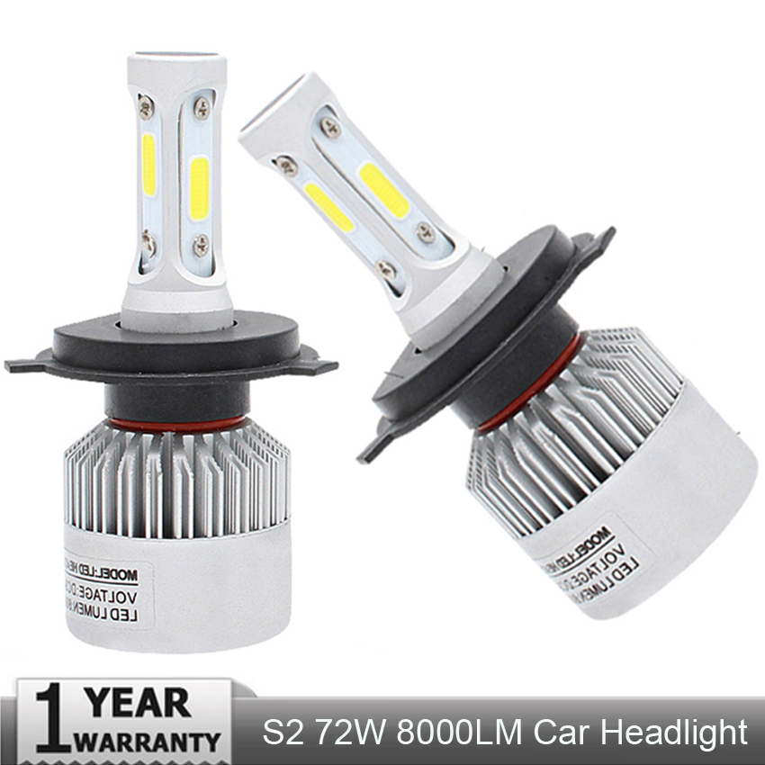 2Pcs Auto H4 LED H7 H11 H8 9006 HB4 H1 H3 HB3 S2 Car Headlight Bulbs COB 72W 8000LM Automobiles Lamp 6500K 12V 4300K 8000K LED 2x led car headlight h4 led headlight bulbs for cree chips h4 h7 h11 12v 80w 8000lm led automobiles head lamp front light