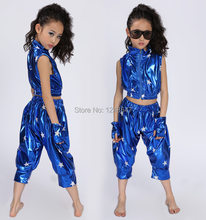 Retails!! Free Shipping New 2015 Unisex Kids Clothing Set Hip Hop Performance Clothing Short Pants Jazz Dance Costumes(China)