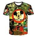 Hot Mickey 3D Imprimir T-shirt T Unisex Homme Camisas de Algodão de Manga Curta Casuais Soltas Topos de Verão