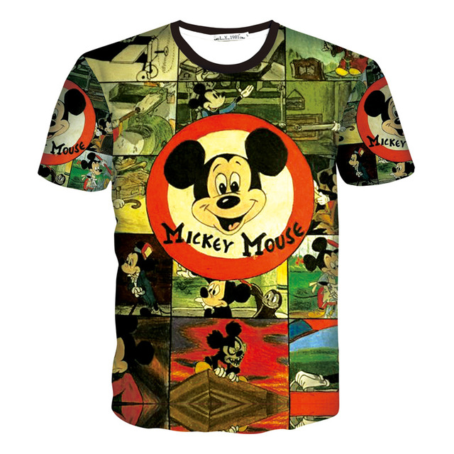 Hot Mickey 3D Print T-shirt Unisex Tee Cotton Shirts Short Sleeve Casual Homme Loose Summer Tops