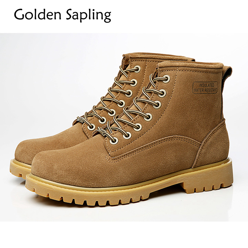 Golden Sapling Waterproof Outdoor Boots Men Hiking Shoes Men's Sneakers Tactical Boots New Trekking Man Rubber Mountain Shoes humtto new hiking shoes men outdoor mountain climbing trekking shoes fur strong grip rubber sole male sneakers plus size