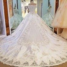 Fotos Reais de Cetim Lace Bordados Super Luxo vestido de Baile de Casamento vestido Frisado Lace Up Robes De Mariee Custom Vestidos De Noiva