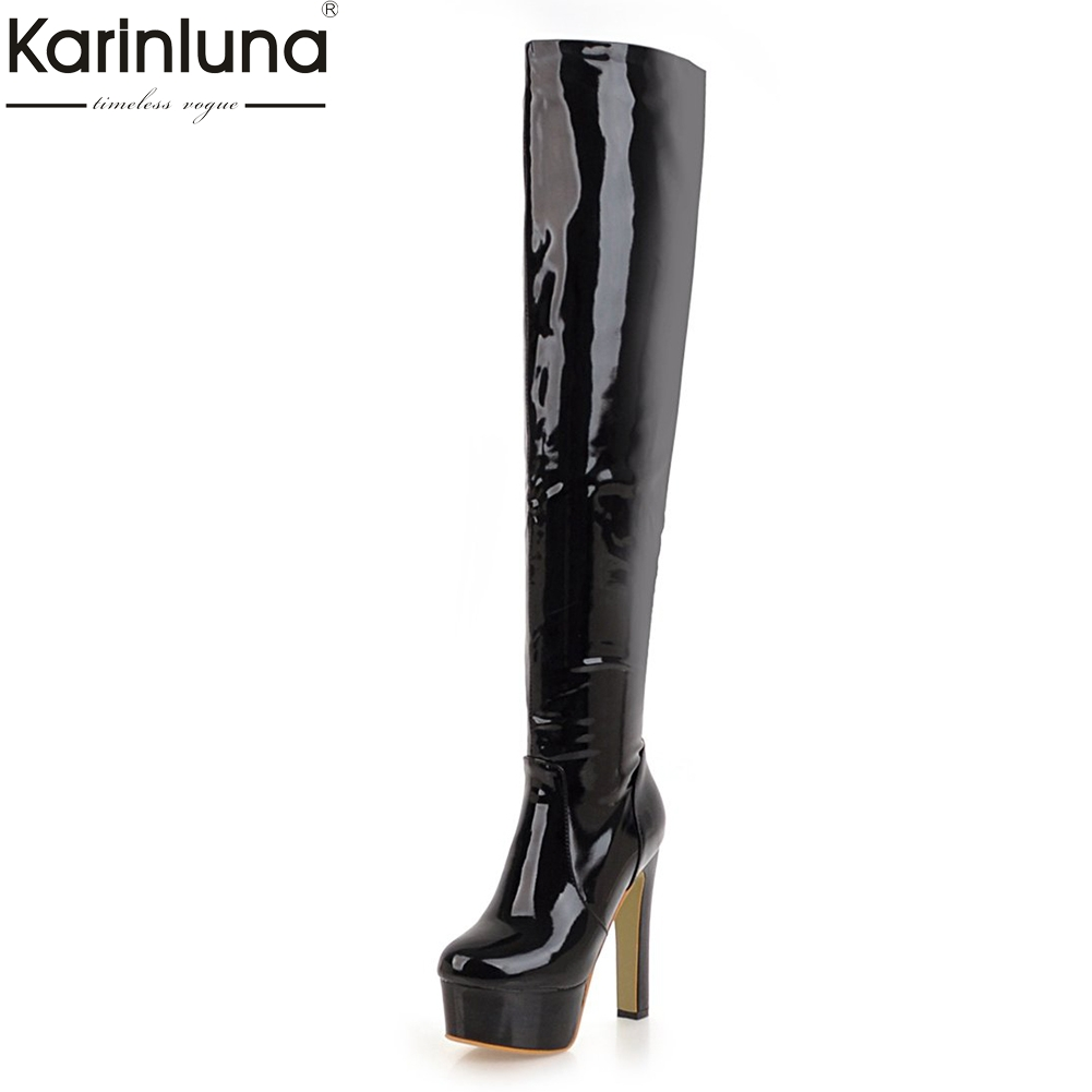 Karinluna 2018 Large Size 34-47 Zip Up Platform High Heels Women Shoes Woman Boots Over The Knee Boots woman Casual Footwear memunia big size 34 43 over the knee boots for women fashion shoes woman party pu platform boots zip high heels boots female